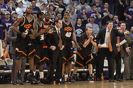 The Oklahoma State bench celebrates as the Cowboys make a comeback in the second half against Kansas State at Bramlage Coliseum in Manhattan, Kansas, February 4, 2006.  The Cowboys defeated K-State 63-61.