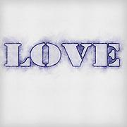 Digitally enhanced Love text