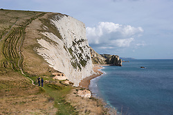 Coastal path heading toward Swyre Head on the Jurassic Coast, Dorset, England, UK.