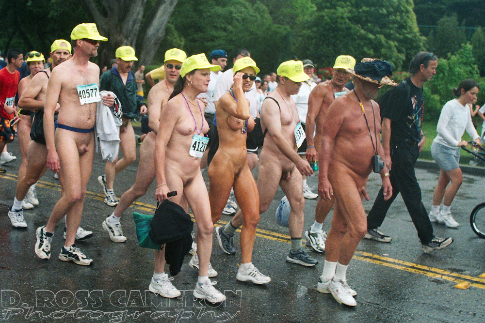 """The """"Bare to Breakers"""" group of naturists who walk the Bay to Breakers course naked each year make their way through Golden Gate Park on Sunday, May 19, 2002 in San Francisco.(Photo by D. Ross Cameron)"""