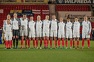 England line up as the national anthems are played beforethe International Friendly match between England Women and France Women at the Keepmoat Stadium, Doncaster, England on 21 October 2016. Photo by Mark P Doherty.