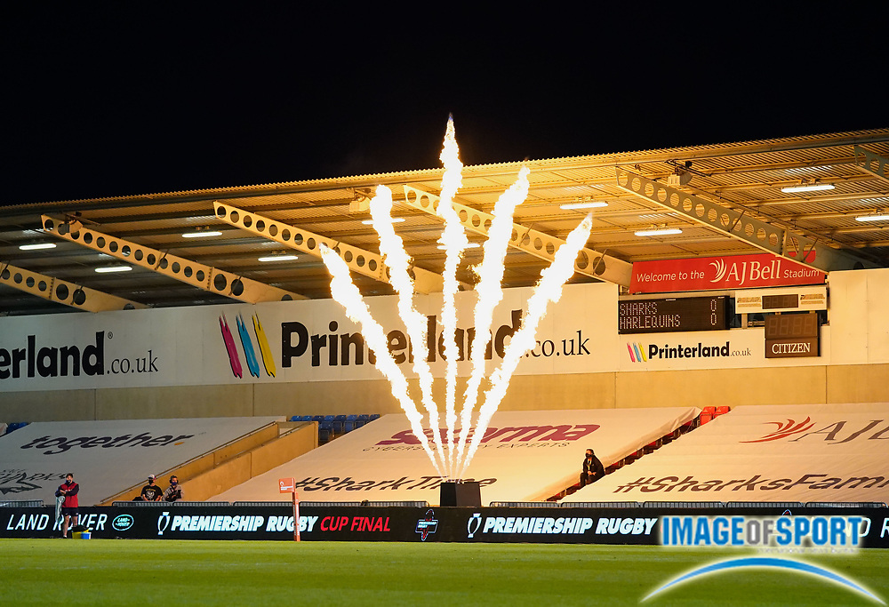 Pyrotechnics greet the players as the enter the field during The Premiership Rugby Cup Final at The AJ Bell Stadium, Eccles, Greater Manchester, United Kingdom, Monday, September 21, 2020. (Steve Flynn/Image of Sport)