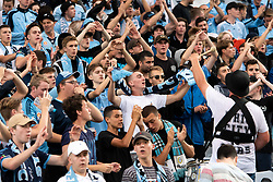 December 15, 2018 - Sydney, NSW, U.S. - SYDNEY, NSW - DECEMBER 15: Sydney FC supporters at the Hyundai A-League Round 8 soccer match between Western Sydney Wanderers FC and Sydney FC at ANZ Stadium in NSW, Australia on December 15, 2018. (Photo by Speed Media/Icon Sportswire) (Credit Image: © Speed Media/Icon SMI via ZUMA Press)