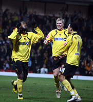 Photo: Mark Stephenson/Richard Lane Photography.<br /> Watford v Charlton Althetic. Coca Cola Championship. 19/01/2008. Watford's Nathan Ellington (L) celebrates his goal for 1-0