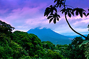 The Active Arenal Volcano And The Lush Tropical Rainforest In La Fortuna, Costa Rica.