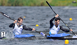 LOVRO LEBAN & ROK KUK (BOTH SLOVENIA) COMPETE IN MEN'S K2 1000 METERS QUALIFICATION RACE DURING 2010 ICF KAYAK SPRINT WORLD CHAMPIONSHIPS ON MALTA LAKE IN POZNAN, POLAND...POLAND , POZNAN , AUGUST 19, 2010..( PHOTO BY ADAM NURKIEWICZ / MEDIASPORT ).