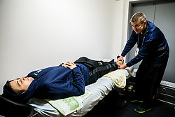 Ziga Pance with orthopedic medical doctor Klemen Strazar in Dressing room of Team Slovenia at the 2017 IIHF Men's World Championship, on May 11, 2017 in AccorHotels Arena in Paris, France. Photo by Vid Ponikvar / Sportida