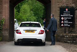 © Licensed to London News Pictures. 25/05/2016. Peckforton UK. Picture shows guests starting to arrive at Peckforton castle for the wedding of  Leicester city footballer Jamie Vardy is to mary Becky Nicholson today at Peckforton Castle in Cheshire today. Photo credit: Andrew McCaren/LNP