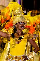 Carnaval parade of Unidos de Bangu samba school in the Sambadrome, Rio de Janeiro, Brazil.