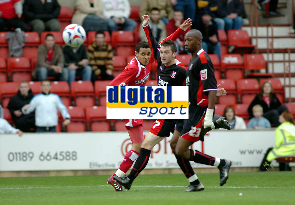 Photo: Kevin Poolman.<br />Swindon Town v Lincoln City. Coca Cola League 2. 28/10/2006. Curtis Weston of Swindon (left) has a shot from outside the box.