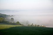 Morning valley fog view towards Bath from Rudloe, Wiltshire, England