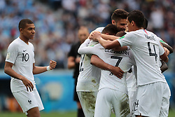 July 6, 2018 - Nizhny Novgorod, U.S. - NIZHNY NOVGOROD, RUSSIA - JULY 06: Players of France celebrate the score during the Quarter-Final match between Uruguay and France in the 2018 FIFA World Cup on July 6, 2018, at Nizhny Novgorod Stadium in Nizhny Novgorod, Russia. (Photo by Anatoliy Medved/Icon Sportswire) (Credit Image: © Anatoliy Medved/Icon SMI via ZUMA Press)