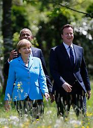 07.06.2015, Schloss Elmau, Krün, GER, G7 Gipfeltreffen auf Schloss Elmau, im Bild Angela Merkel beim Spaziergang mit Barack Obama und David Cameron // during the G7 summit at Schloss Elmau in Krün, Germany on 2015/06/07. EXPA Pictures © 2015, PhotoCredit: EXPA/ SM<br /> <br /> *****ATTENTION - OUT of GER*****