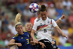 June 29, 2019 - Rennes, France - Marina Hegering (Sgs Essen) of Germany shooting to goal during the 2019 FIFA Women's World Cup France Quarter Final match between Germany and Sweden at Roazhon Park on June 29, 2019 in Rennes, France. (Credit Image: © Jose Breton/NurPhoto via ZUMA Press)