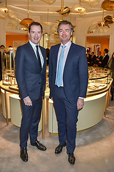 Left to right, George Osborne and Laurent Feniou Managing Director of Cartier, at reopening of the Cartier Boutique, New Bond Street, London, England. 31 January 2019. <br /> <br /> ***For fees please contact us prior to publication***