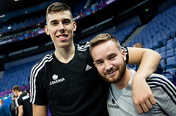 Vlatko Cancar and Tomaz Ursic of Slovenian National Basketball team after a training session ahead of the FIBA EuroBasket 2017 match between Slovenia and Poland at Hartwall Arena in Helsinki, Finland on August 30, 2017. Photo by Vid Ponikvar / Sportida