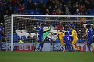 Tom Clarke of Preston North End (5) scores his teams 1st goal.EFL Skybet championship match, Cardiff city v Preston North End at the Cardiff city stadium in Cardiff, South Wales on Friday 29th December 2017.<br /> pic by Andrew Orchard, Andrew Orchard sports photography.