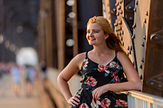 A senior portrait session with Meagan Nye on the Big Four Bridge, Labor Day, September 4, 2017 in Louisville, Ky. (Photo by Brian Bohannon)