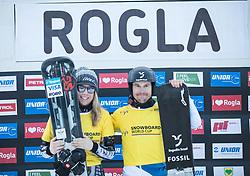 Current Leaders: Ledecka Ester and Galmarini Nevin FIS snowboarding world cup race in Rogla (SI / SLO) | GS on January 20, 2018, in Jasna Ski slope, Rogla, Slovenia. Photo by Urban Meglic / Sportida