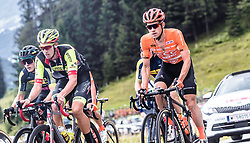 12.07.2019, Kitzbühel, AUT, Ö-Tour, Österreich Radrundfahrt, 6. Etappe, von Kitzbühel nach Kitzbüheler Horn (116,7 km), im Bild v.l.: Jannik Steimle (Team Vorarlberg Santic, GER), Riccardo Zoidl (CCC Team, AUT) // during 6th stage from Kitzbühel to Kitzbüheler Horn (116,7 km) of the 2019 Tour of Austria. Kitzbühel, Austria on 2019/07/12. EXPA Pictures © 2019, PhotoCredit: EXPA/ JFK