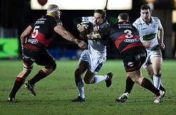 Glasgow Warriors' Ruaridh Jackson under pressure from Dragons' Lloyd Fairbrother<br /> <br /> Photographer Simon King/Replay Images<br /> <br /> Guinness PRO14 Round 14 - Dragons v Glasgow Warriors - Friday 9th February 2018 - Rodney Parade - Newport<br /> <br /> World Copyright © Replay Images . All rights reserved. info@replayimages.co.uk - http://replayimages.co.uk