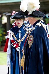 The Princess Royal arrives for the annual Order of the Garter Service at St George's Chapel, Windsor Castle.