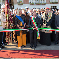 VENICE, ITALY - JULY 19:  Patriarca of Venice (R) and Commissario Vittorio Zappalorto (C) acting as Major of Venice cuts the ribbon opening the Votive Bridge to the Redentore Church on July 19, 2014 in Venice, Italy. Redentore , which is in remembrance of the end of the 1577 plague, is one of Venice's most loved celebrations. Highlights of the celebration include the pontoon bridge extending across the Giudecca Canal, gatherings on boats in the St. Mark's Basin and a spectacular fireworks display.  (Photo by Marco Secchi/Getty Images)