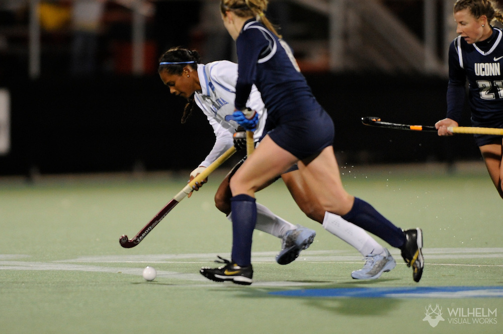16 NOV 2007: Illse Davids (2) of the University of North Carolina - Chapel Hill battles Meghan Wheeler (8) of University of Connecticut during the second half of the Division I Women's Field Hockey semifinals on the campus of the University of Maryland in College Park, MD.  North Carolina defeated Connecticut 4-2 to advance to the championship game. ©© Brett Wilhelm