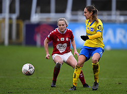 Aileen Whelan of Brighton and Hove Albion is marked by Jemma Purfield of Bristol City Women - Mandatory by-line: Ryan Hiscott/JMP - 30/01/2021 - FOOTBALL - Twerton Park - Bath, England - Bristol City Women v Brighton and Hove Albion Women - FA Womens Super League 1