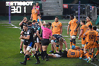 Rugby Union - 2020 / 2021  European Rugby Challenge Cup - Semi-final - Bath vs Montpellier - Recreation Ground<br /> <br /> Bath Rugby's Charlie Ewels celebrates as Tom Dunn scores his sides first try.<br /> <br /> COLORSPORT/ASHLEY WESTERN