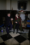 Peter Delaney Archdeacon of London and Mrs. Lyle Dennen. Exhibition, Damien Hirst; New Religion. Wallspace at All Hallows on the Wall. 83 London Wall. London. 6 March 2007.  -DO NOT ARCHIVE-© Copyright Photograph by Dafydd Jones. 248 Clapham Rd. London SW9 0PZ. Tel 0207 820 0771. www.dafjones.com.