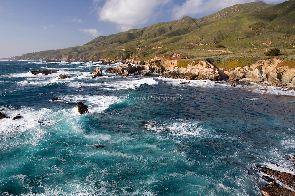 Waves crash along the Big Sur Coast, California.