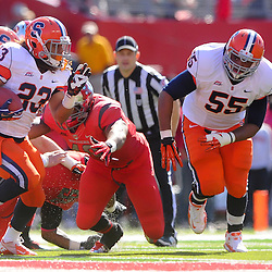 Oct 13, 2012: Syracuse Orange running back Prince-Tyson Gulley (23) cuts past Rutgers Scarlet Knights defensive end Marcus Thompson's (48) attempted tackle during NCAA Big East college football action between the Rutgers Scarlet Knights and Syracuse Orange at High Point Solutions Stadium in Piscataway, N.J.