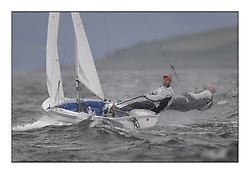 470 Class European Championships Largs - Day 2.Wet and Windy Racing in grey conditions on the Clyde...TUR890, Deniz CINAR, Ates CINAR, Istanbul Sailing Club.