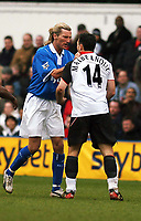 PHOTO:Alan Crowhurst.Digitalsport<br /> FULHAM V BIRMINGHAM,Barclaycard Premiership,<br /> 03/04/2004.ROBBIE SAVAGE GRABS STEED MALBRANQUE AND EARNS A YELLOW CARD.