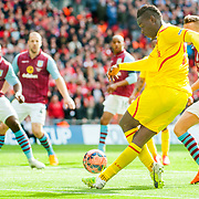 Liverpool forward Mario Balotelli  crosses the ball during the FA Cup match at Wembley Stadium, London.<br /> <br /> Picture by Jack Megaw/Focus Images Ltd <br /> +44 7481 764811<br /> jack@jackmegaw.com<br /> 19/04/2015
