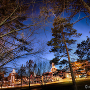 Photo taken in Mill Creek Park on the Country Club Plaza at dusk, Kansas City Missouri. Plaza Lights lit up for the holiday season.