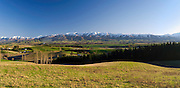 Panoramic view of MacKenzie Country with the Albury Range in the background. New Zealand.