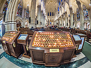 St. Patrick's Cathedral is a New York City landmark decorated in neo-gothic Catholic style.