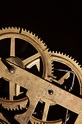 Close up of brass gears on some sort of machinery