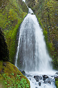 "A lower section of Wahkeena Falls (242 foot total plunge), on Wahkeena Creek, in Columbia River Gorge National Scenic Area, Oregon. Formerly known as Gordon Falls, a 1915 committee of the Mazamas changed the name to Wahkeena, the Yakima Indian word for ""most beautiful."""