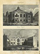 Surrey Chapel, Southwark. Architecture in the City of London Copperplate engraving From the Encyclopaedia Londinensis or, Universal dictionary of arts, sciences, and literature; Volume XIII;  Edited by Wilkes, John. Published in London in 1815