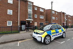 © Licensed to London News Pictures. 29/04/2019. London, UK.  Police outside a block of flats in Vandome Close in Newham, east London. A murder investigation has been launched after two females were found dead on Friday 26th April at a residential address in Vandome Close. Photo credit: Vickie Flores/LNP