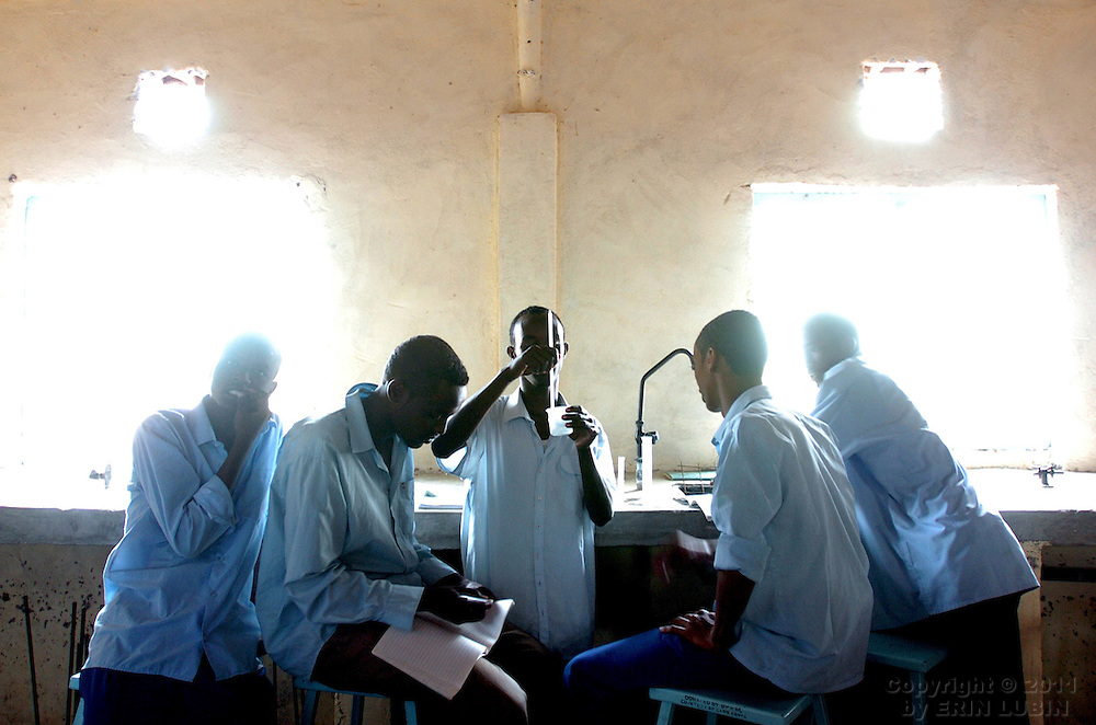 Students work in the new science lab at Dadaab Secondary School in Dadaab, Kenya, September 11, 2006. CARE donated much of the contents of the school's new science lab...Photograph by Erin Lubin