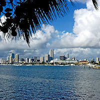 View of Miami skyline from the Venetian Causeway, August of 2004 before the latest high rise building boom.