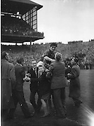 Down's back G.Lavery chaired off the field after their win at the All Ireland Senior Gaelic Football Final Kerry v Down in Croke Park on the 22nd September 1960. Down 2-10 Kerry 0-8.