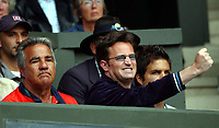 Actor Matt Perry cheers on his Friend Jennifer Capriati from the stands. Wimbledon Tennis Championship, Day 7, 30/06/2003. Credit: Colorsport / Matthew Impey DIGITAL FILE ONLY