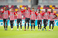 PENALTIES Brentford players watch as Brentford forward Marcus Forss (15) (not in picture) steps up to take the winning  during the EFL Cup match between Brentford and Wycombe Wanderers at Brentford Community Stadium, Brentford, England on 6 September 2020.