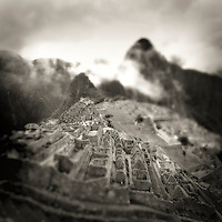Selective focus, black and white image of Machu Picchu, Peru