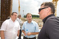 Joc Pececnik, Franci Zavrl and Mayor of Ljubljana Zoran Jankovic at open door day 1 year before opening of new football stadium and sports hall in Stozice,  on June 30, 2009, at Stadium Stozice, Ljubljana, Slovenia. (Photo by Vid Ponikvar / Sportida)